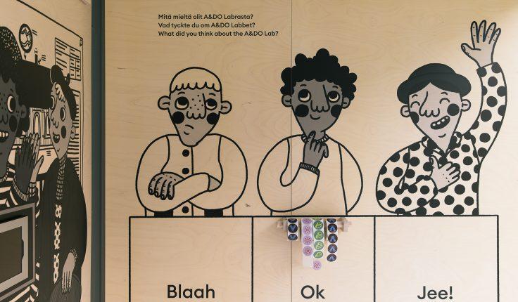 Labra-näyttelyn kuvituskuva. Vieraat antavat palautetta näyttelystä.